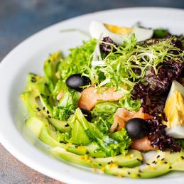 salad with salmon and avocado and mascarpone mousse